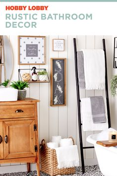 Layer classic items with farmhouse accent pieces to create your personalized rustic bathroom decor. Rustic Bathroom Decor, Bathroom Ideas, Spring Cleaning, Accent Pieces, Getting Organized, Home Organization, Farmhouse Style, Hacks, Create