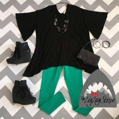 Black Sharkbite Top, Kelly Green Skinnies, Black Zepp Short Boot