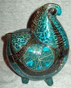 Vintage Mid Century Bitossi Aldo Londi Ceramic Horse Rimini Blue Green