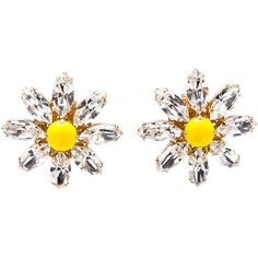 Dolce & Gabbana Daisy Crystal Earrings ($355) ❤ liked on Polyvore featuring jewelry, earrings, crystal heart earrings, crystal jewelry, heart earrings, crystal jewellery and heart-shaped jewelry