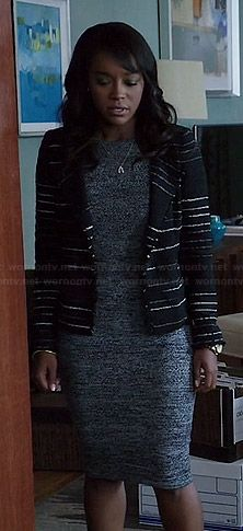 Michaela's marled knee length dress and black striped jacket on How to Get Away with Murder.  Outfit Details: http://wornontv.net/46211/ #HTGAWM