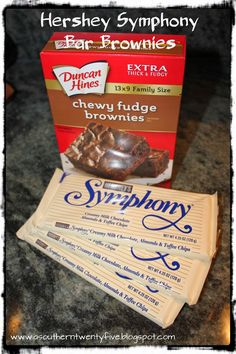 Magnolia & Main: The Easiest Dessert Ever: Hershey Symphony Bar Brownies Brownie Mix Desserts, Cookie Brownie Bars, Brownie Recipes, Easy Desserts, Candy Recipes, Yummy Recipes, Yummy Food, Hershey Bar Cakes, Hershey Candy Bars