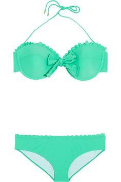 Miu Miu|Scalloped underwired bow bikini. Gorgeous color.