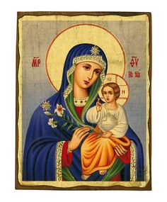 ) old looking icon, Byzantine icon, handmade icon on natural wood Russian Icons, Byzantine Icons, Client Gifts, White Lilies, Religious Art, Virgin Mary, Christianity, Infant, Bloom
