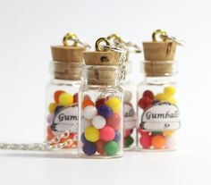 mini bottle charms | miniature gumball necklace gumballs in glass bottle vial pendant charm ...