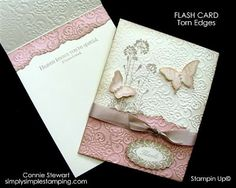 This card uses the following stamp sets:    Serene Silhouettes  Papillon Potpourri  Perfect Punches  Blessings from Heaven  Inks, Paper, etc.:    Pink Pirouette and Very Vanilla cardstock  Pink Pirouette and Crumb Cake ink pads  Crumb Cake Seam Binding ribbon  Jewel Pearls   Lacy Brocade Embossing folder