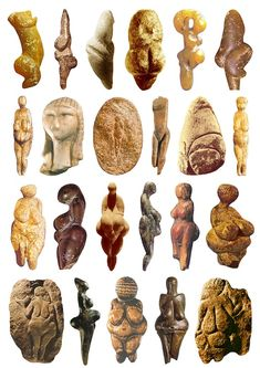 23 Goddess sculptures Stone age 6300 - 5300 BCE. La edad de Piedra...un período enigmático de los seres humanos, ya que se inició allí la expresión del pensamiento simbólico. Pinturas y arte rupestre. Pero tambien la escultura. Nuevamente la maternidad como eje en referencia de la fertilidad.