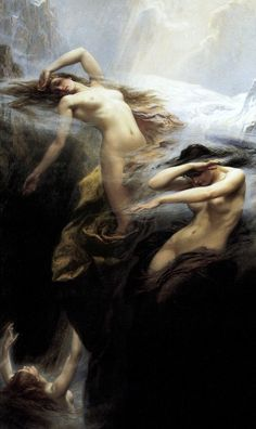 Clyties of the Mist  (1912)   by Herbert James Draper, Private collection, Oil on Canvas. Depicts three nymphs that look like they are floating. There is an airy misty feeling that surrounds the painting. The contortion of the bodies also creates a lot of emotion.