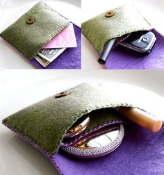 felt wallet / mini purse/ bag hand embroidery olive green and lavender FREE SHIPPING. $29.99, via Etsy.