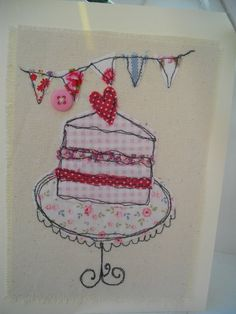 A textile, machine embroidered card, Birthday card, any occasion, girls card,