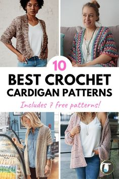 10 Best Crochet Cardigan Patterns - Includes 7 FREE Patterns! Lots of beginner and advanced beginner crochet to start hooking now. Crochet Cardigan Pattern, Knit Crochet, Free Crochet, Crochet Hooks, Aran Weight Yarn, Chunky Wool, Sweater Making, Knit Picks, Tricot