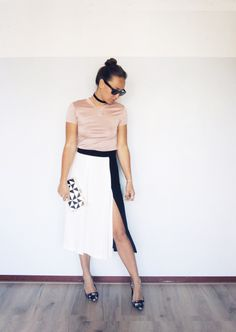 Blush pink, black and white outfit - www.lovebeingpetite.com