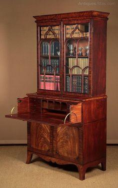 Regency Mahogany Secretaire Bureau Bookcase C.1830 - Antiques Atlas Door Trims, Regency Era, Drawer Fronts, Get Directions, Writing Desk, Antique Shops, Panel Doors, 30 Years, Antique Furniture