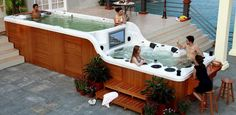 Luxema 8000 Swim Spa - Pool and Jacuzzi w/ Wood Siding Jacuzzi Design, Future House, My House, Outdoor Spaces, Outdoor Living, Outdoor Tub, Spa Jacuzzi, Pool Spa, Swimming Spa
