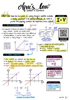 Ohm's Law and V-I graph of various components Physics Lessons, Learn Physics, Physics Concepts, How To Study Physics, Physics Notes, Chemistry Notes, Chemistry Lessons, Physics And Mathematics, Science Notes