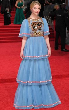 InStyle is the leading site for celebrity style. See expert fashion advice, star hairstyles, beauty tips, how-to videos and real-time red carpet coverage. Anya Joy, Anya Taylor Joy, Bafta Red Carpet, Celebrity Red Carpet, Stylish Dress Designs, Stylish Dresses, Blue Dresses, Prom Dresses, Formal Dresses