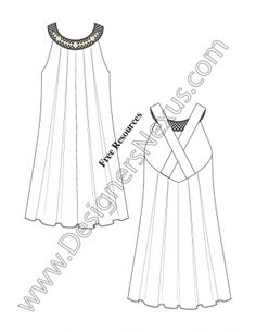 015- illustrator flat sketch inverted pleat tent dress beaded crochet neckline - FREE download and more flat fashion sketches in Illustrator & .png at designersnexus.com! #fashionsketch #flatsketch #flatsketches #fashiondesign