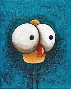 "Original acrylic painting canvas illustration whimsical art yellow pink 8x10"" #IllustrationArt"