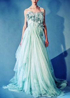 Marchesa, NY Fashion | ♥ amazing aqua ♥