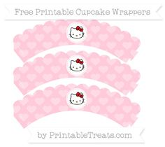 Free Pink Heart Pattern  Hello Kitty Scalloped Cupcake Wrappers