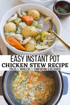 Easy Instant Pot Chicken Stew - grain-free, paleo, whole30, a comforting dinner recipe! #chicken #chickenrecipe #chickenstew #stew #stewrecipe #instantpot #pressurecooker Good Healthy Recipes, Lunch Recipes, Paleo Recipes, Real Food Recipes, Stew Chicken Recipe, Chicken Recipes, Instant Pot Dinner Recipes, Easy Dinner Recipes, Yum Yum Chicken