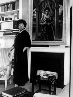 Leontyne Price, American Opera Singer, at Home, 1967. The portrait over the mantel now hangs in the National Portrait Gallery.