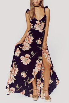 Random Floral Print Sleeveless V-neck Maxi Dress