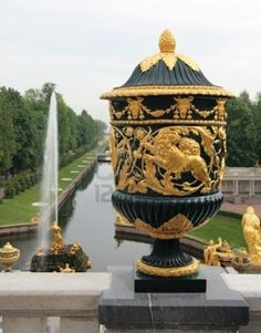 The Sampson Fountain, a monument to the victory in the Battle of Poltava. Peterhof, near St Petersburg, Russia.