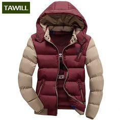 NEW Color-Block Men's Fashion Warm Casual Winter Parka Jacket CM-4XL 6 Colors