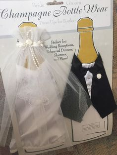 Champagne Bottle Wear Bride & Groom Wedding Theme Reception Dress and Tux