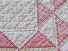 "Densely Quilted Antique c1880 Pink White Doll or Table Quilt 32x27"" Primitive 