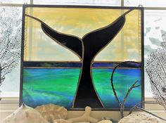 Items similar to Handmade Stained Glass Whale Panel Framed Ocean Scene Wall Hanging Suncatcher on Etsy Ocean Scenes, Chapstick Holder, Whale Tail, Stained Glass, Island, Amazon, Cool Stuff, Awesome, Frame