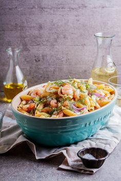 Prawn and Fennel pasta salad in Caribbean Le Creuset Serving Bowl