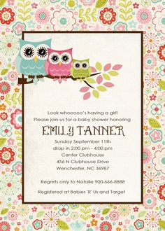 owl baby shower invitations,baby shower Baby shower baby shower  http://www.etsy.com/shop/katiearichards