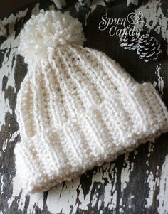 Ribbon Stitch Slouchy Hat Crochet Teen Beanie Ribbed by SpunCandy