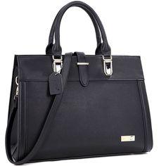 Dasein Faux Leather Work Satchel Shoulder Bag ($30) ❤ liked on Polyvore featuring bags, handbags, shoulder bags, faux leather satchel, shoulder handbags, blue satchel, purse shoulder bag and man bag
