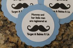 Mustache Baby Shower Registry Tags by DivineDesignsHB on Etsy, $6.00