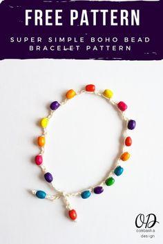 Super Simple Boho Bead Bracelet Pattern. This is a free crochet pattern. Beginner Friendly Pattern too! #redheartyarns #joycreators