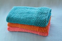 So cute! I can totally make these. hand knit baby blanket  ocean blue  soft cotton  by KelleyAnnZee, $32.00
