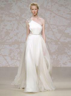 Grecian One Shoulder Wedding Dress