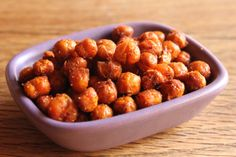 Roasted chickpeas....this recipe + 1 tsp turmeric, 1 tsp cumin, 1/2 tsp coriander, 1/4 tsp cayenne pepper (I use garlic powder, and no added salt; still taste great!).        Tips I've found to making great roasted chickpeas: (1) remove the little shell thing on each pea (2) dry completely (3) shake pan frequently while cooking to roast peas evenly.    YUM