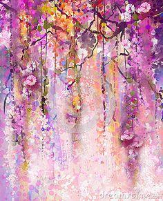 Pittura dell acquerello La porpora della primavera fiorisce le glicine