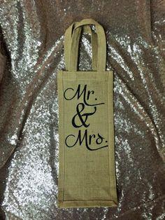 Glitter Burlap Wine Bag