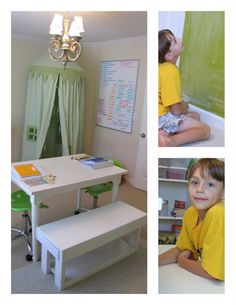 Homeschooling Room...love the small drawers all stacked on top of each other and labeled.