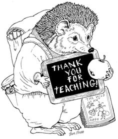 """""""I love my teacher"""" coloring pages by Jan Brett"""