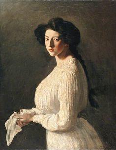 centuriespast:  Signorina Estellaby Augustus Edwin John Manchester City GalleriesDate painted: c.1900Oil on canvas, 90.1 x 69.9 cm