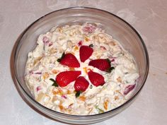 A colorful chilled dessert made with fruits and cream. This is a perfect dessert for hot summer days.