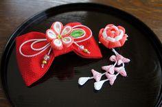 【つまみ細工】 リボンバレッタとクリップのセット by petit-flower アクセサリー ヘアアクセサリー