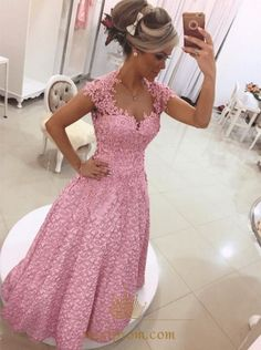 NextProm.com Offers High Quality Pink Cap Sleeve Floor Length A-Line Prom Dress With Bow And Sheer Back,Priced At Only USD $142.00 (Free Shipping)