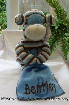Personalized baby gift monogrammed monkey birth announcement personalized baby gift blue sock monkey blanket unique baby gift personalized by world class embroidery negle Image collections